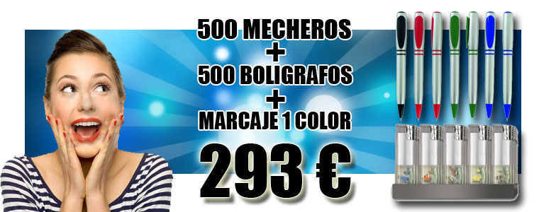 oferta boligrafo, mechero, 293 €, marcaje 1 color incluido